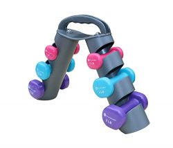 Dumbbell Set of 6 Total Dumbbells with Foldable Rack That Can Stand For Display or Folded For Tr ...
