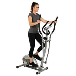 EFITMENT Compact Magnetic Elliptical Machine Trainer with LCD Monitor and Pulse Rate Grips &#821 ...
