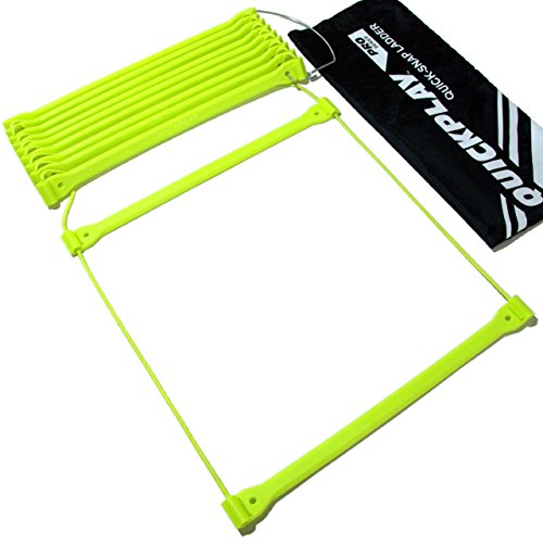 QuickPlay PRO No Tangle Agility Ladder with Quick Lock Adjustable Flat Rungs + Carry Bag (11-Run ...