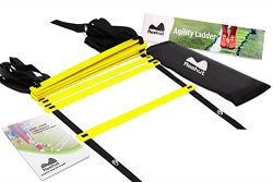 ReehutAgilityLadderw/FREEUSERE-BOOK+CARRYBAG–SpeedTrainingEquipment (Yellow,  ...