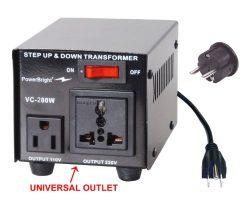 Power Bright VC200W Voltage Transformer 200 Watt Step Up/Down converter  110/120 Volt – 22 ...