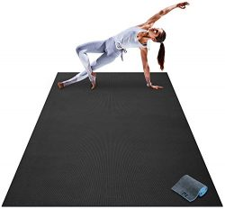 Premium Large Yoga Mat – 7′ x 5′ x 8mm Extra Thick, Ultra Comfortable, Non-Tox ...
