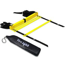 Yes4All Agility Ladder – Speed Agility Training Ladder with Carry Bag – 8 Rung (Yellow) &# ...