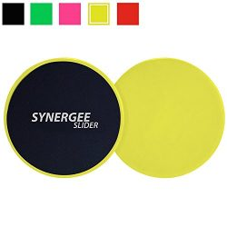 iheartsynergee Yellow Gliding Discs Core Sliders. Dual Sided Use on Carpet or Hardwood Floors. A ...