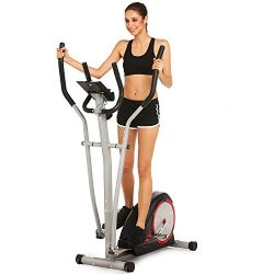 Elliptical Machine Trainer Magnetic Smooth Quiet Driven with LCD Monitor and Pulse Rate Grips (B ...