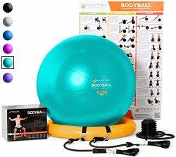 Exercise Ball Chair – 65cm & 75cm Yoga Fitness Pilates Ball & Stability Base for H ...