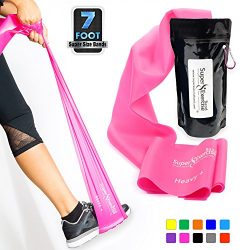 SUPER EXERCISE BAND Heavy Fuchsia Pink Resistance Band. Your Home Gym Fitness Equipment Kit for  ...