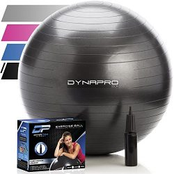 DYNAPRO Exercise Ball – 2,000 lbs Stability Ball – Professional Grade – Anti B ...