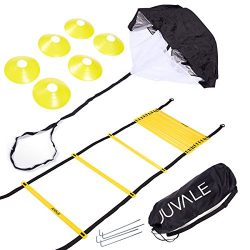 Speed and Agility Training Set – Includes Agility Ladder, 6 Disc Cones, Resistance Parachu ...