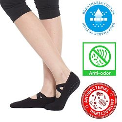 Yoga Socks for Women Non Skid Socks with Grips Barre Socks Pilates Socks for Women (black(1 pair))