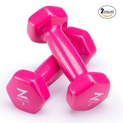 Z ZELUS Cast Iron Vinyl Coated Dumbbells Hand Weights for Women/Men Workout (Set of 2) (2)
