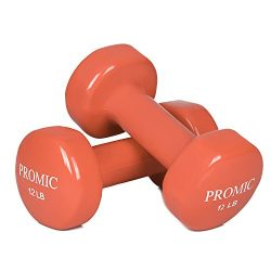 PROMIC 12 lb Hand Weights Deluxe Vinyl Coated Dumbbells (Sold in Pair) – 12 lb, Orange