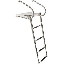 Rage Powersports 4-Step Telescoping Boat Ladder with Swim Platform & Handrails