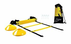 Lagos Athletic Agility ladder by workout ladder + 10 cones + 4 metal hooks + carry bag | footwor ...