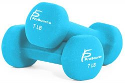 ProSource Set of Two Neoprene Dumbbells, Sky Blue, 7 pounds