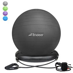 Trideer 75cm Exercise Ball Chair, Stability Ball with Ring & Pump, Flexible Seating, Improve ...