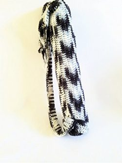 Black and White Handmade Crochet Yoga Mat Sling Pilates Tote Bag, Exercise Equipment Carrier