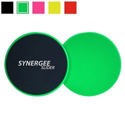 iheartsynergee Electric Lime Green Gliding Discs Core Sliders. Dual Sided Use on Carpet or Hardw ...