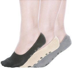 Womens Socks No Show Socks with Non slip Grips Socks Women Great for Hospital,Studio,Yoga,Pilate ...