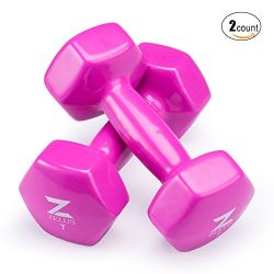 Z ZELUS Cast Iron Vinyl Coated Dumbbells Hand Weights for Women/Men Workout (Set of 2) (7)