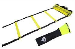 Pepup Sports Super Flat 16 Rungs Adjustable Speed Agility Ladder with Free Carry Bag, 26′