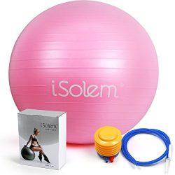 iSolem 65cm Yoga Exercise Ball – Professional Anti Burst Exercise Equipment for Pilates,Fi ...