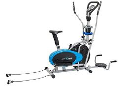 Body Xtreme Fitness 6-in-1 Elliptical Trainer Exercise Bike, Home Gym Equipment, Push Up Bars, A ...