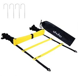 Ohuhu Speed & Agility Training Ladder with Black Carrying Case and 4 Stakes