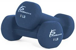 ProSource Set of Two Neoprene Dumbbells, Dark Blue, 8 pounds