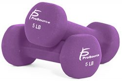 ProSource Set of Two Neoprene Dumbbells, Purple, 5 pounds