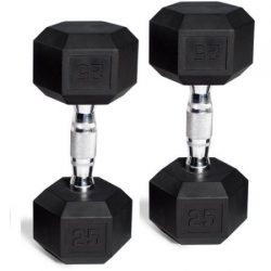 CAP Barbell Set of 2 Hex Rubber Dumbbell with Metal Handles, Pair of 2 Heavy Dumbbells Choose We ...