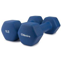 Bintiva Professional Grade, Non Slip Grip, Neoprene Coated Dumbbells 10 LB Pair – Blue