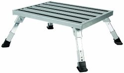 Camco Adjustable Height Aluminum Platform Step- Supports Up to 1,000lbs, Includes Non-Slip Rubbe ...