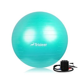 Trideer Exercise Ball (Multiple Sizes), Yoga Ball, Birthing Ball with Quick Pump, Anti-Burst &am ...