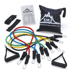 Black Mountain Products Resistance Band Set with Door Anchor, Ankle Strap, Exercise Chart, and C ...