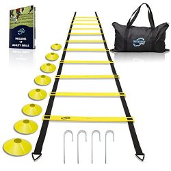 Invincible Fitness Agility Ladder Training Equipment, Improve Coordination, Speed, Develop Explo ...