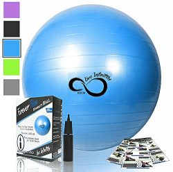 Live Infinitely Exercise Ball -Professional Grade Exercise Equipment Anti Burst Tested with Hand ...