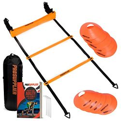 Agility Ladder and Cones 20 Feet 12 Adjustable Rungs Fitness Speed Training Equipment + 16 Agili ...