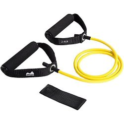 REEHUT Single Resistance Band, Exercise Tube – With Door Anchor and Manual Yellow