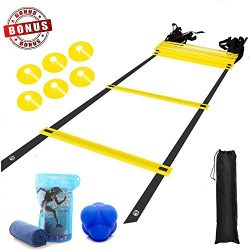 YAHEY Agility Ladder,Adjustable Training Speed Ladder 12 Rungs with 9 Huge BONUS-6 Sports Cones+ ...