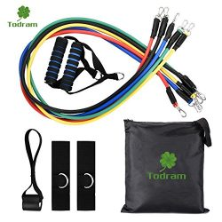 Todram 11pc Resistance Band Set – 5 Stackable Exercise Loop Bands Training Tube Set For Fi ...
