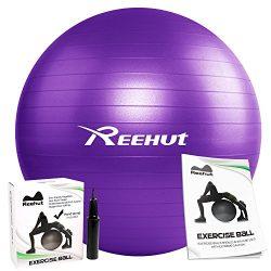 REEHUT Anti-Burst Core Exercise Ball for Yoga, Balance, Workout, Fitness w/Pump (Purple, 55CM)