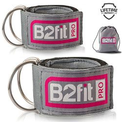 Ankle Straps for Cable Machines by B2FIT PRO – Premium Padded Double D-ring Ankle Cuffs fo ...