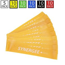 iheartsynergee 10 Pack Mini Band Resistance Loop Exercise Bands Yellow Light Resistance