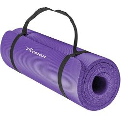 REEHUT 1/2-Inch Extra Thick High Density NBR Exercise Yoga Mat for Pilates, Fitness & Workou ...