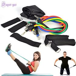 Resistance Band Set Yoga Pilates Abs Workout Exercise Tube Fitness Bands 11 PCS