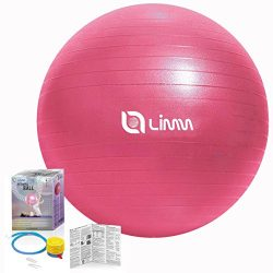 Limm Exercise Ball by for Yoga, Pilates, Stretching and General Fitness – Includes Foot Pu ...