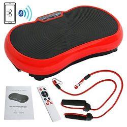 Super Deal Crazy Fit Full Body Vibration Platform Massage Machine Fitness W/Bluetooth, Red