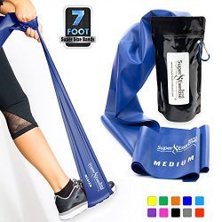 Super Exercise Band Medium BLUE Resistance Band. Your Home Gym Fitness Equipment Kit for Strengt ...