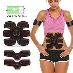 Pro USB Charging Muscle Toner Abdominal Toning Belt Workouts Portable AB Machine EMS Training Ho ...